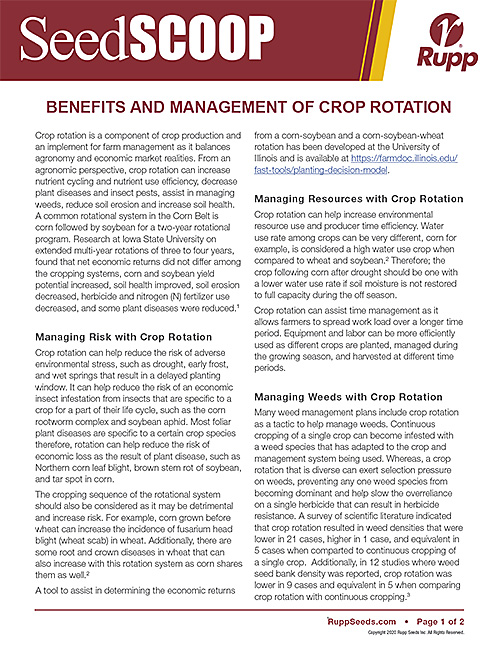 Screen shot image of SeedSCOOP publication discussing the benefits and management of crop rotation.