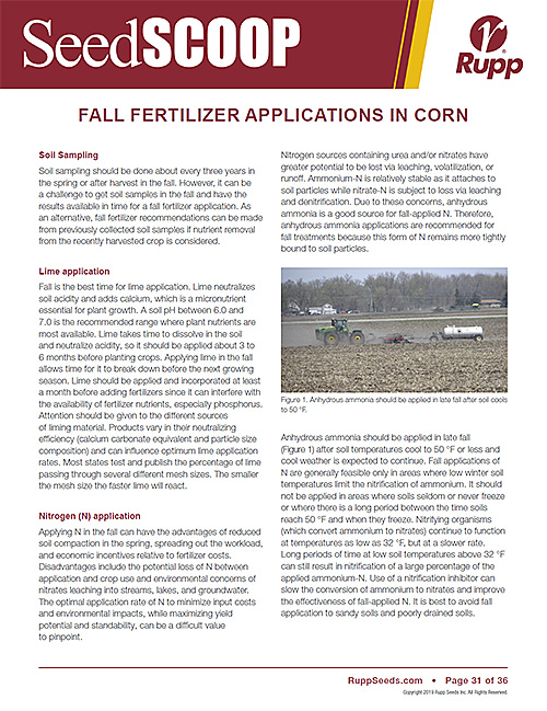 Screen shot image of SeedSCOOP publication discussing fall fertilizer applications in corn.