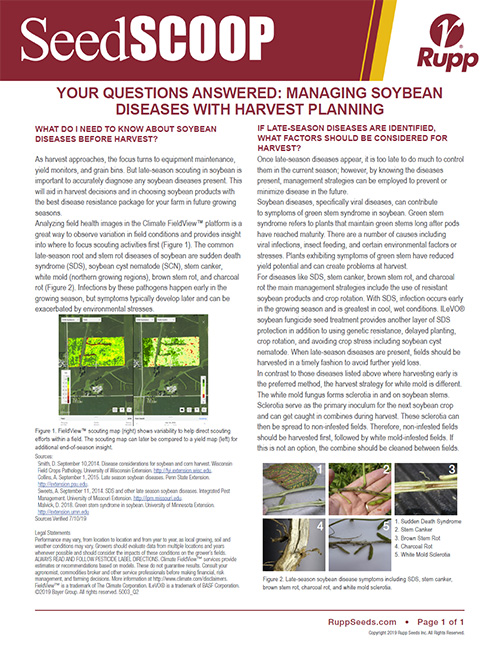 Screen shot image of SeedSCOOP publication discussing managing soybean diseases with harvest planning.