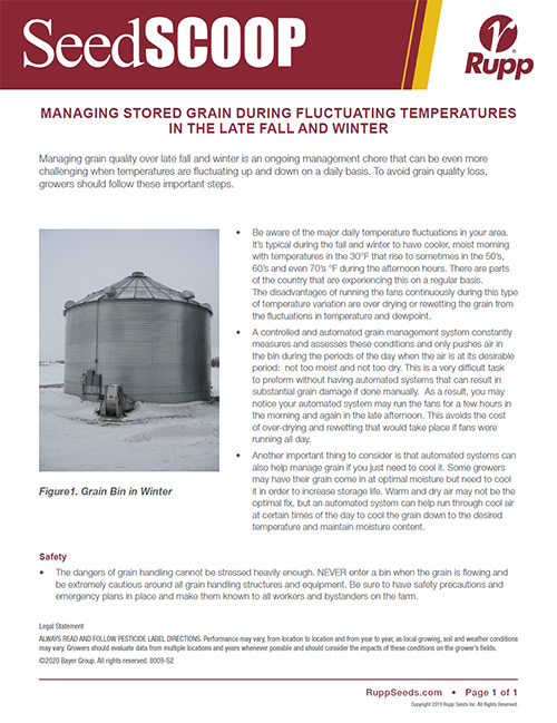Screen shot image of SeedSCOOP publication discussing how to manage stored grain during fluctuating temperatures in the late fall and winter.