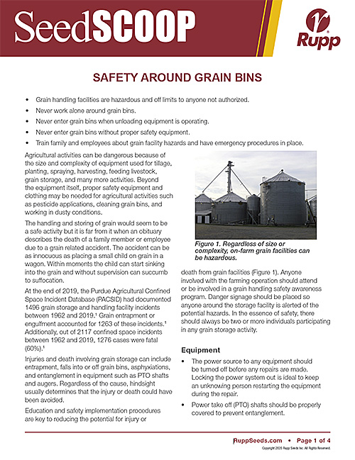 Screen shot image of SeedSCOOP publication discussing safety around grain bins.