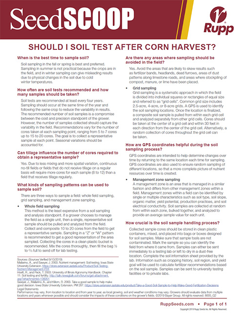 Screen shot image of SeedSCOOP publication discussing soil testing after corn harvest.