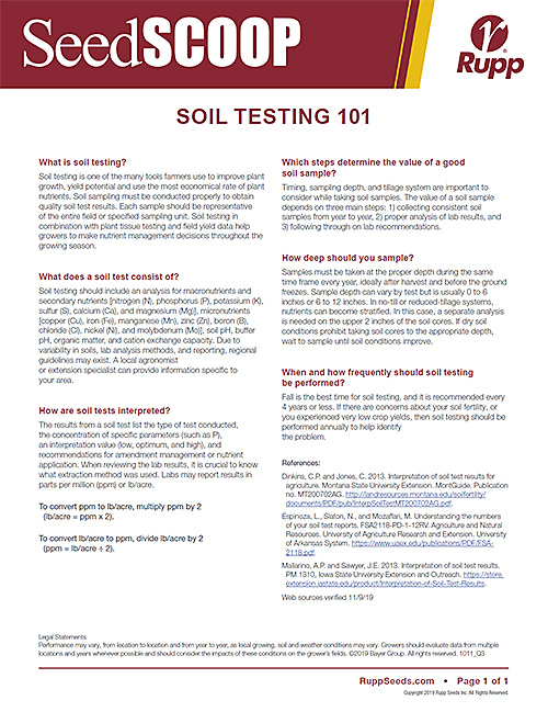 Screen shot image of SeedSCOOP publication discussing soil testing 101.
