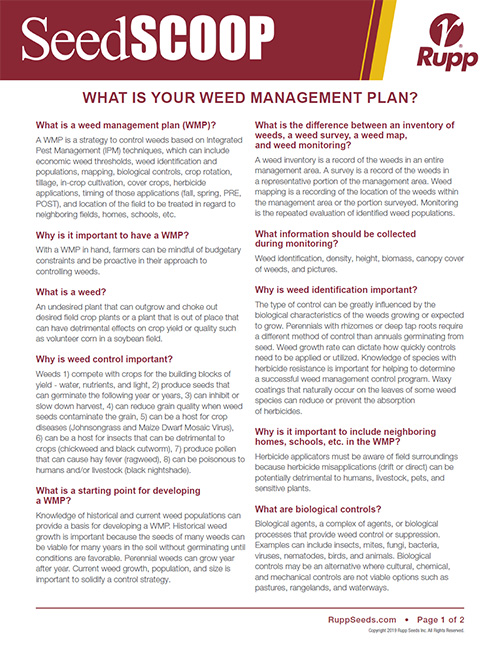 Screen shot image of SeedSCOOP publication discussing weed management plans.