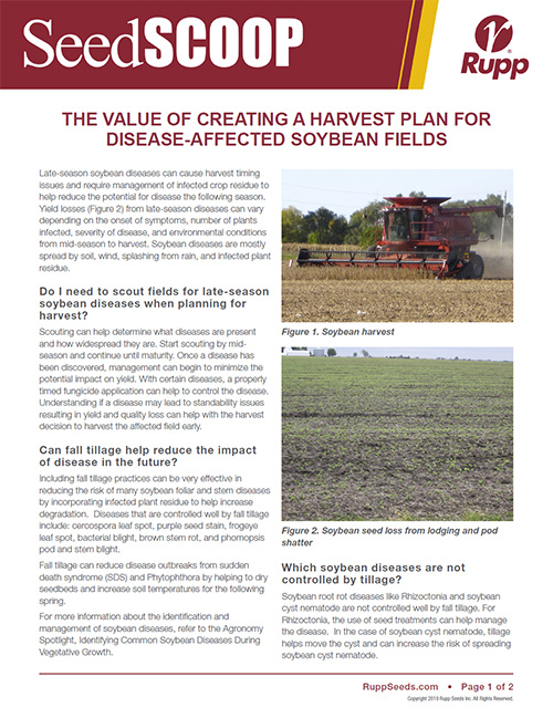 Screen shot image of SeedSCOOP publication discussing the value of creating a harvest plan of disease-affected soybean fields.